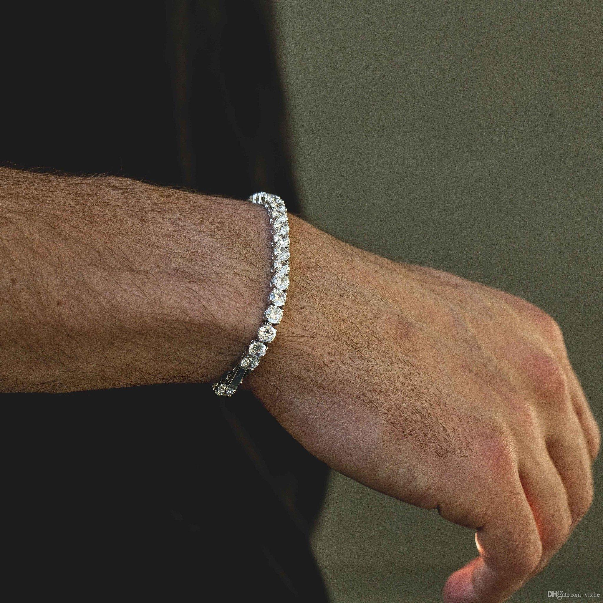 Fashioh cristal pulseira de tênis zircão contas pulseira de homens pulseira cadeias pulseiras para mulheres pulseiras bijoux prata pulseira de tênis de prata