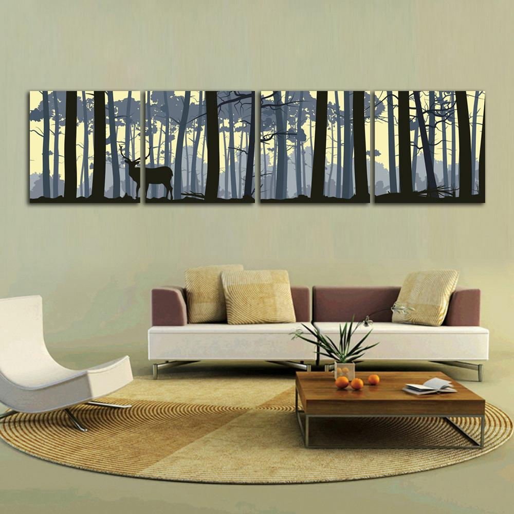 Scenery Dark Background Wall Picture Forest Deer Art Canvas Frameless Painting Printed Poster 4 Panels Home Decor
