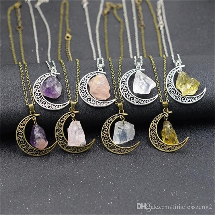 الحجر الطبيعي القمر قلادة غير النظامية الحجر الطبيعي خمر القمر قلادة متعدد الألوان مع سلاسل الفضة البرونزية العتيقة المجوهرات