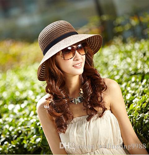 3 Colors Vintage women Wide Brim Hats girls Teen lady travel beach holiday straw bowknot sun hat caps Fashion Accessories drop shipping