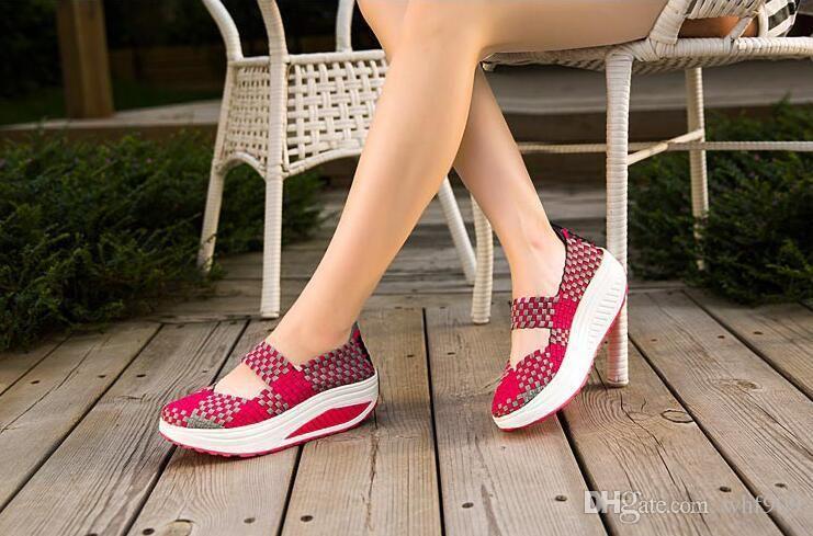 New style d'été couleur chaussures tissées à la main plus légers chaussures compensées chaussures casual chaussures sandales Livraison gratuite taille 35 ~ 40