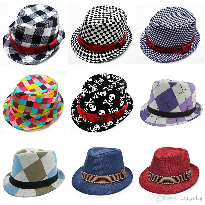 어린이 재즈 캡 (21) 디자인 페도라 트릴 모자 패션 유니섹스 (남녀 공용) 캐쥬얼 모자 아기 소년 소녀 어린이 모자 어린이 액세서리 모자