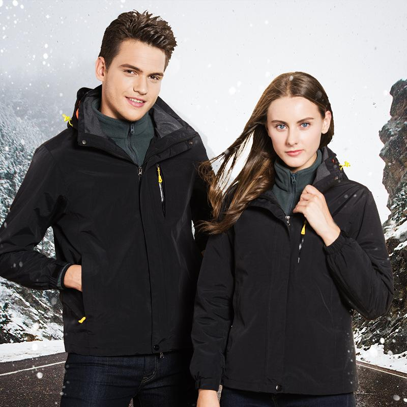 Outdoor autumn and winter jackets for men and women three in one two sets of detachable plus velvet mountaineering clothing