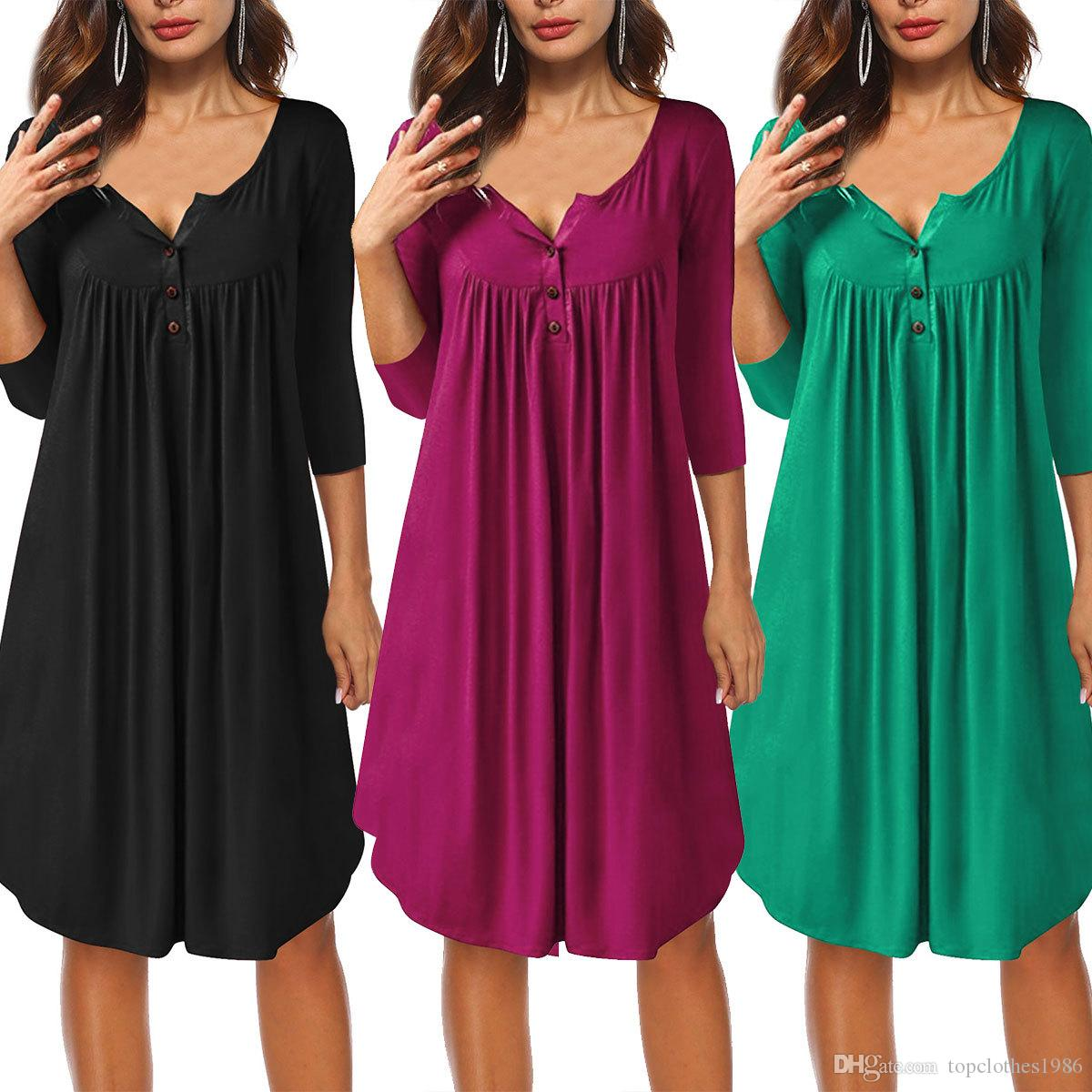 Jesień Nowy Styl Damska Dówna sukienka Przycisk 3 / 4Sleeve T-shirt Sukienka Damska Luźna Dresy S M L XL Zielona Czarna Rose