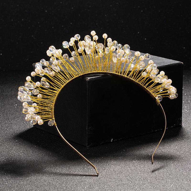 TUANMING золото металл барокко Кристалл Корона тиара оголовье Hairband для женщин свадебные аксессуары для волос тиара головной убор ювелирные изделия продажа S926