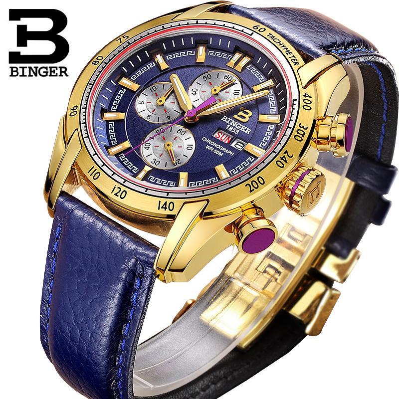 44 мм Швейцария Хронограф Спортивные часы плавать 2018 водонепроницаемый военный Кварцевые наручные часы BINGER мужские часы relogio masculino S924