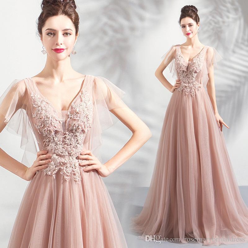 Vestidos Para Festas Dusty Blush Vestidos De Noite 2019 Tulle Lace Elegante Com Decote Em V Longo Vestidos De Baile Frisado Lace Up Ocasião Especial