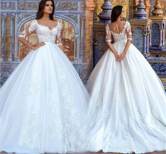 Винтажные кружева свадебные платья, шарики шеи видят через половину рукава обратно в линейку плюс размер свадебные свадебные платья