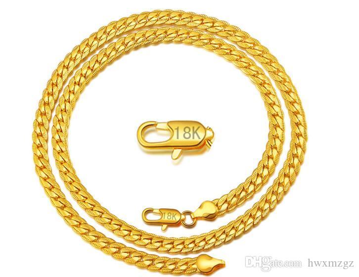 Collar de cadena de serpiente 18k oro lleno de hombres 20'-22 'longitud N267
