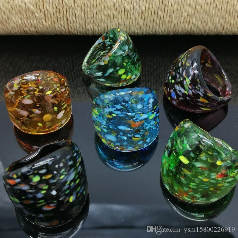 Kostenloser Versand Großhandel Hot 6pcs Spot Murano Glas Murano Ring, Mode Murano Ring 17-19mm