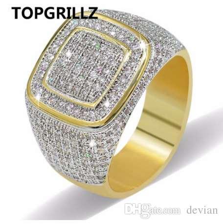 Anillo de Hip Hop TOPGRILLZ All Iced Out Alta calidad Micro Pave CZ anillos mujeres hombres anillo de oro para el amor, regalo