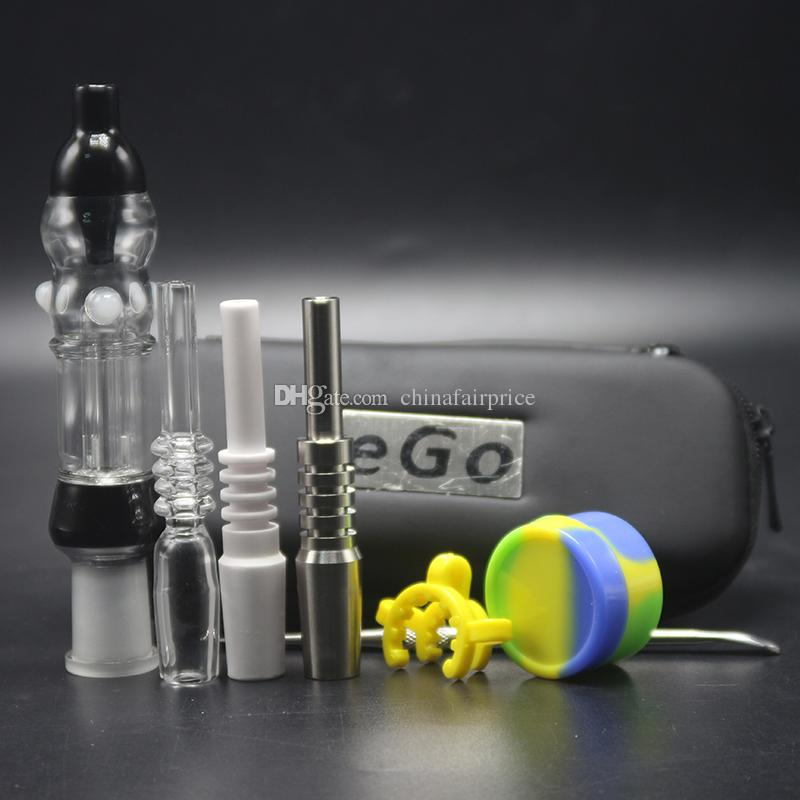 Ego Bag Smoking Filter Pipes With 10mm 14mm Ceramic Tip Quartz Nail Grace Ash Catcher Glass Bong Silicon Jar Wax Tool