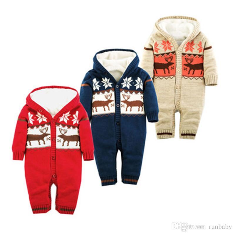 Macacão de bebê Roupas de Inverno Grossa de Escalada Recém-nascidos Meninos Meninas Romper Quente Camisola de Malha de Natal Veados Com Capuz Outwear Cl0491