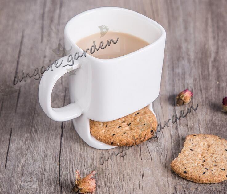 İyi fiyat 48 adet 250 ml Seramik Kahve Fincanı Yan Kurabiye Bisküvi Cep Tutucu Süt Suyu Limon Kupa Drinkware Arkadaş Doğum Günü Hediyesi Için