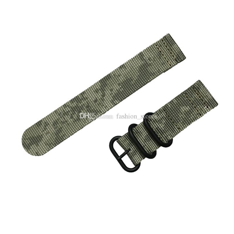 10 unids / lote Camuflaje de calidad fina 2 piezas Zulu Band Nylon correas de reloj en anillos de acero 20 mm 22 mm 24 mm envío gratis