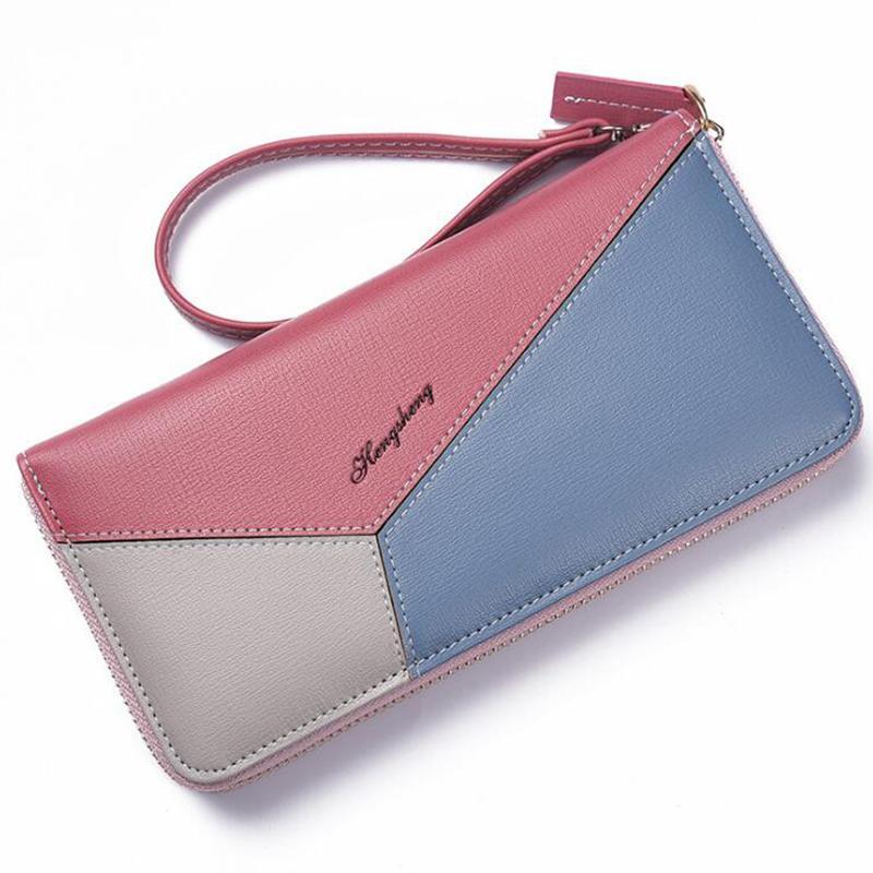 Women wallet zipper Patchwork wallets wrist strap long lady portable coin purse card holder high capacity travel feminina clutch