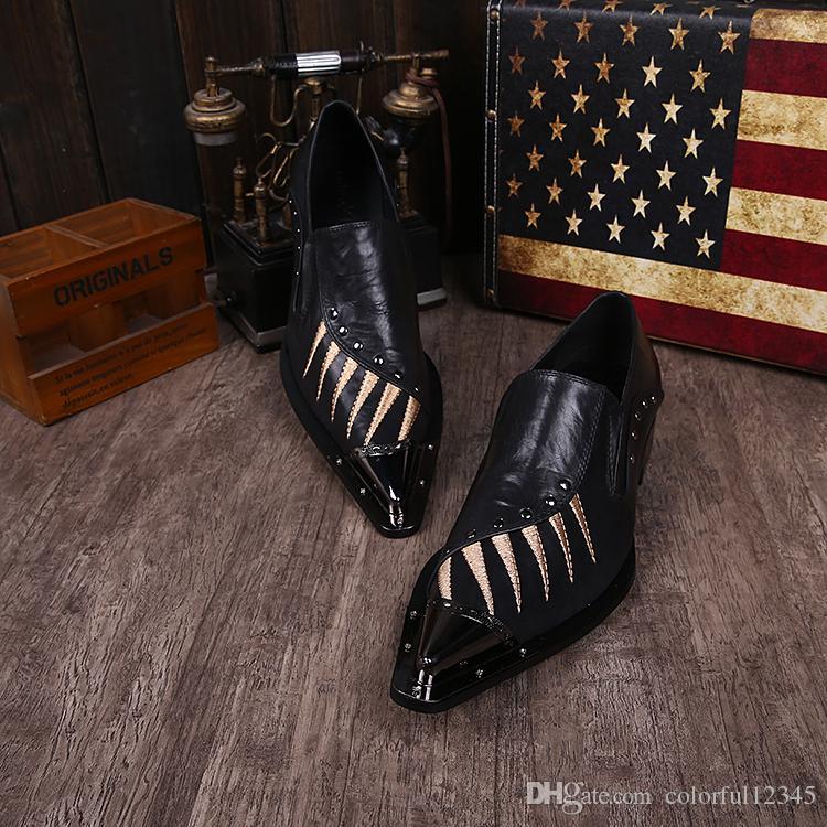 Envío gratis negro de cuero sólido zapatos de vestir de negocios para hombre tamaño 37-46 remache bordado Oxfords Metal punta estrecha zapatos para hombre