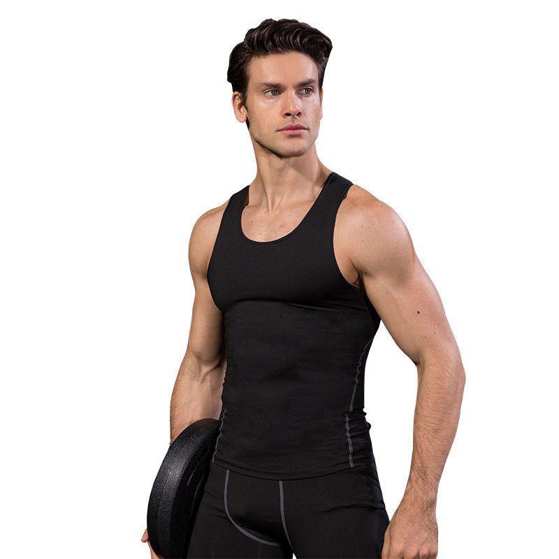Logo Özel Hızlı Kuru Koşu Yelek Eğitim Kolsuz Egzersiz Tank Top Fitness Tayt Erkekler Spor Takım Elbise Spor adamın T-Shirt