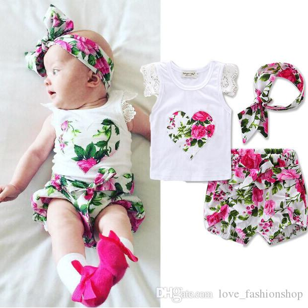 InBaby Girls Floral Printed Suits Sets three Pieces Set (tshirt+short+headband) Kids Love Heart Pattern Outfits Children boutique clothes