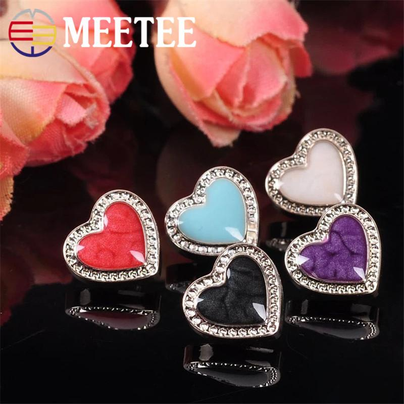 Meetee 12mm High-end ABS Button Fashion Casual Lady Sweater Shirt Buttons Decorative Colorful Heart Buckles ZK606