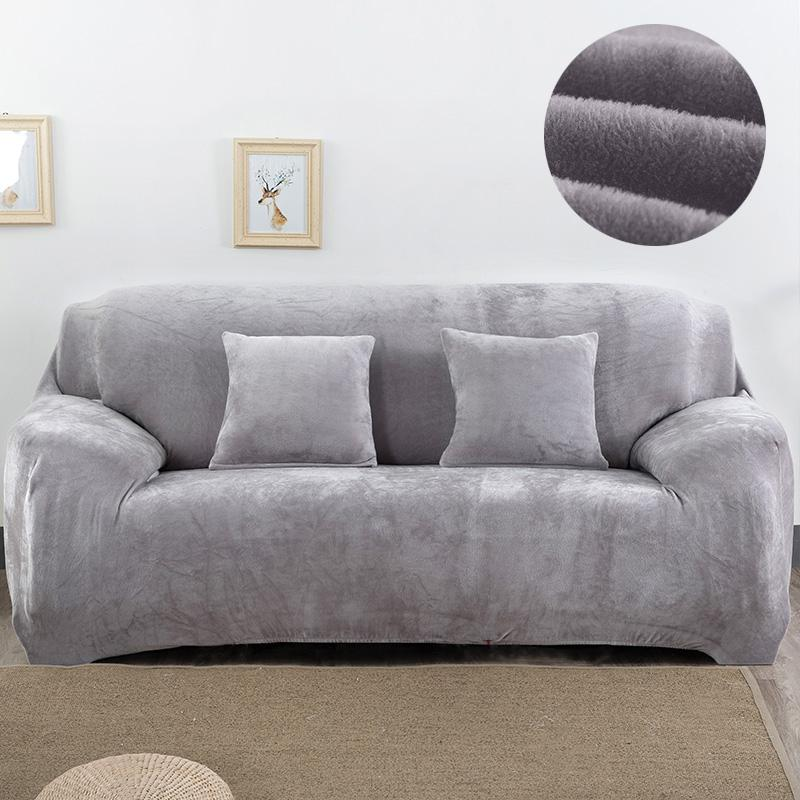 Plush Fabirc Sofa Cover 2 Seater Thick Slipcover Couch Sofacvoers Stretch  Elastic Cheap Home Sofa Covers Towel Wrap Covering Renting Chair Covers ...