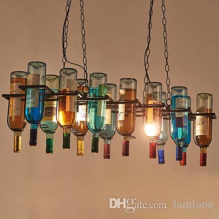 La botella de vino retro condujo las lámparas de las lámparas de la lámpara colgante para el uso del restaurante del bar club hotel restaurante las luces pendientes de la vendimia artística creativa incluyen bombillas
