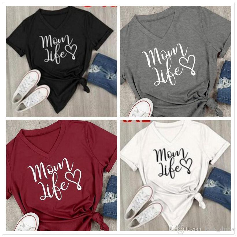 2017 Women Mom Life Heart Designer V Neck T Shirt Women Casual Letter Printed Short Sleeve T Shirt Summer Streetwear Tee Tops Xxl Large Size Tees Shirts Cheap Design And Buy T