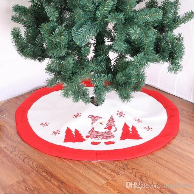 90cm rouge blanc jolies sapin de Noël embrodier Santa Clause tapis de sol couverture de tapis de sapin de Noël tablier décorations accueil décorations de Noël