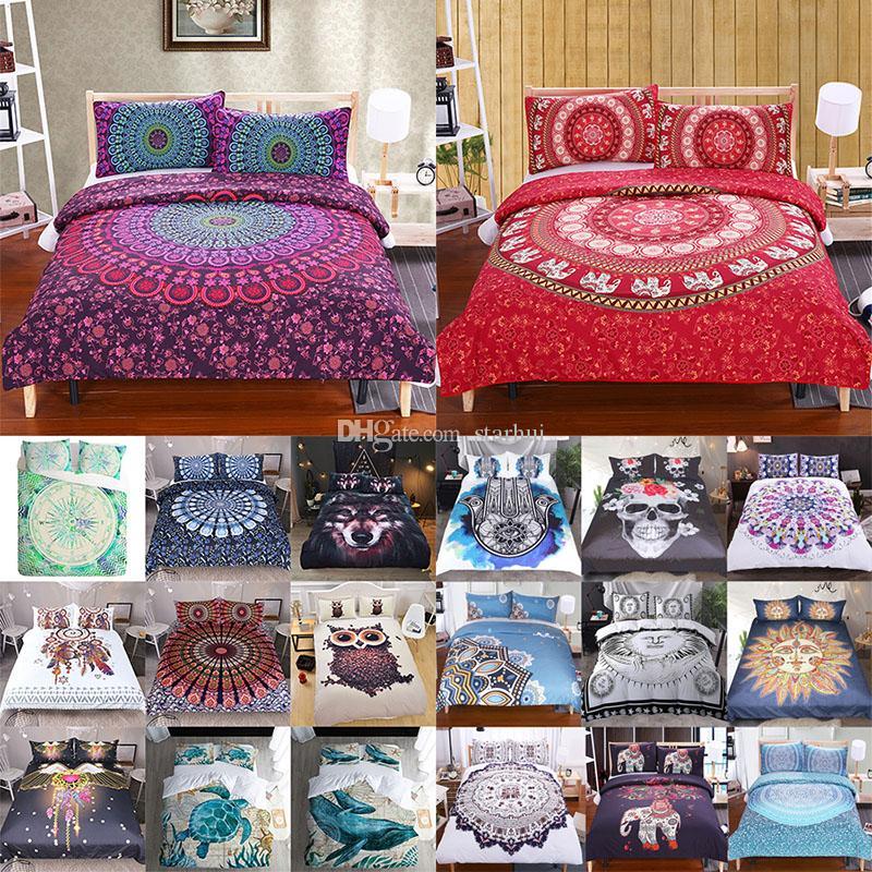 3D Printed Bedding Sets 3pcs/set Bohemia Cartoon Duvet Cover Pillowcases Home Bedding Supplies Christmas Decorative Gift WX9-1030