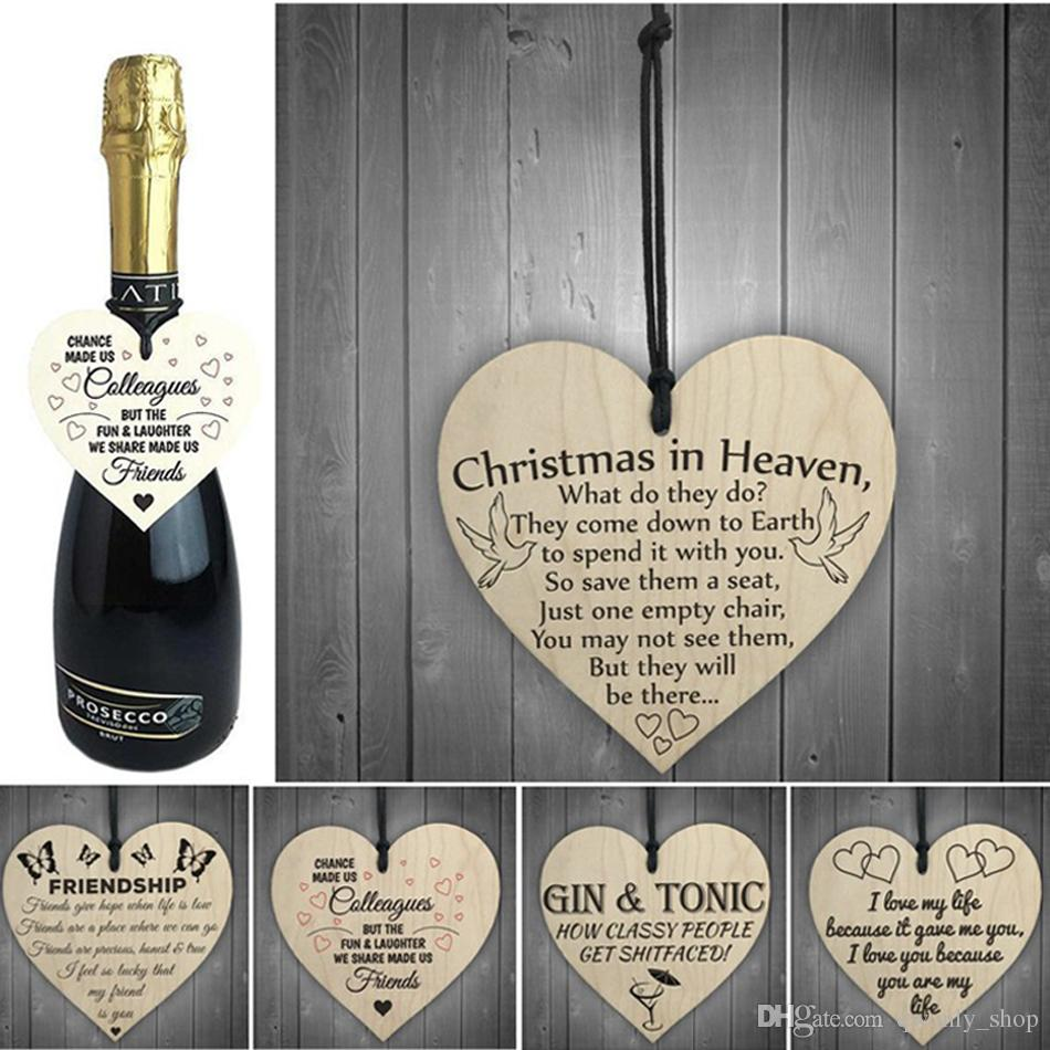 Christmas Tree Decorations Heart-shaped Wooden Hanging Pendant Wood Heart Plaque Sign DIY Crafts Home Decoration 18styles