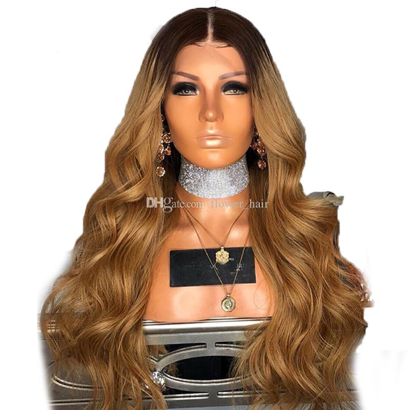 150 Density Ombre Honey Blonde Color 1B 27 Thick Glueless Full Lace Human Hair Wigs Brazilian Body Wavy Lace Front Wig