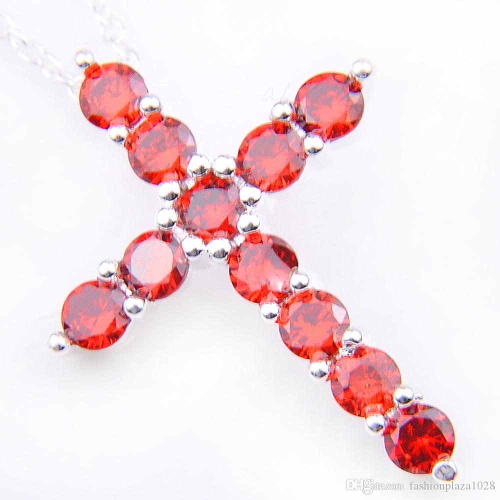 10 Adet 1 grup LuckyShine sevgililer Günü Hediye Yeni Çapraz Kırmızı Kübik Zirkonya Taşlar Kristal 925 Ayar Gümüş Düğün Kolye + Zincir