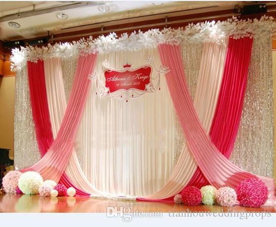 Fashion Quality Elegant China Suppliers Modern Designer Tension Ice Silk Fabric Display Wedding Stage Decoration Backdrop For Bridal Ocasion Wedding