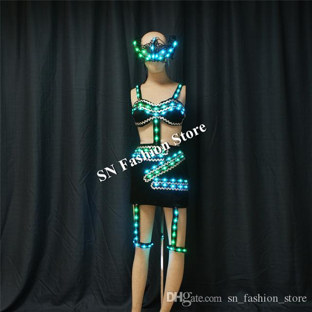 TC-188 Programmable full color women sexy dance led costumes luminous light bra skirt with mask dj wears stage dresses clothes performance