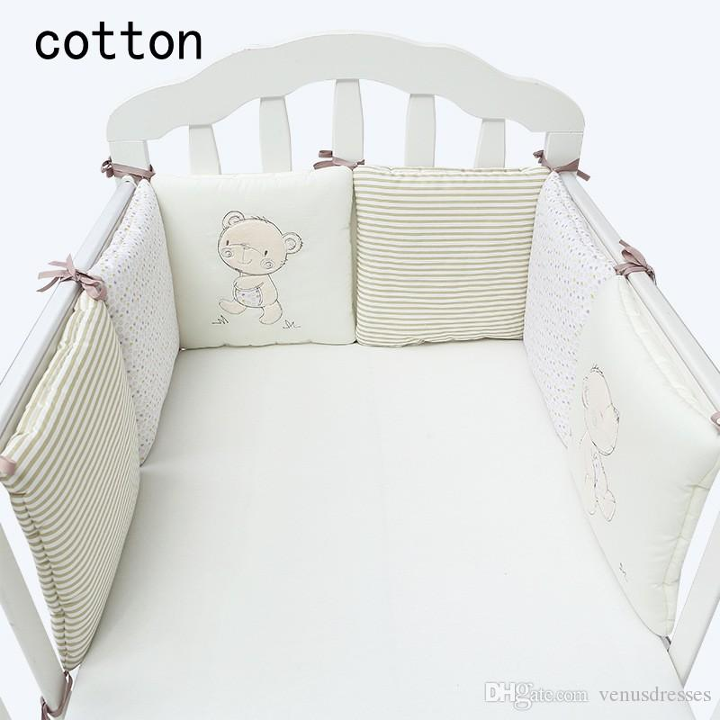 Cute Bear Design Cotton Infant Baby Crib Bumper Bed Protector Soft Baby Kids Cot Nursery Bedding Bear Bumper