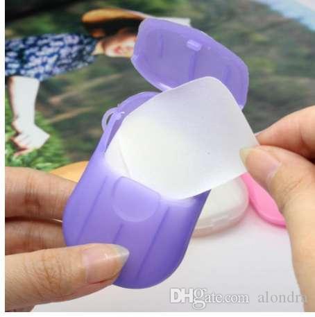Neue 1 Box Portable Washing Hand Bad Scheibe Blätter duftende schäumende Papier Seife