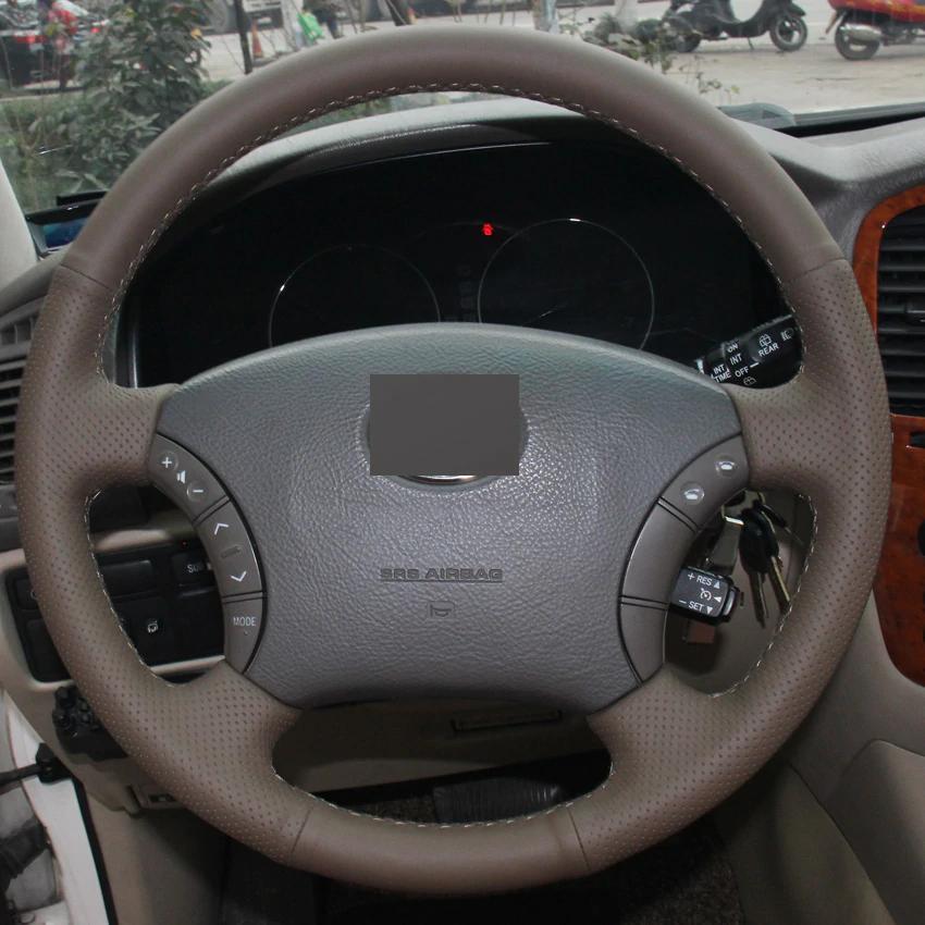 Couro marrom escuro diy mão-costurado tampa de volante do carro para o velho toyota land cruiser prado 120