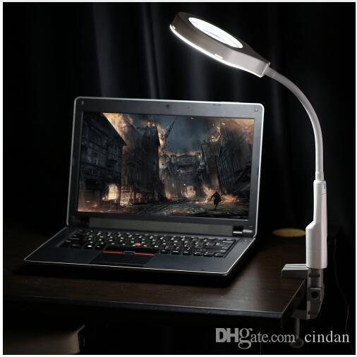 다기능 2 in 1 LED 조명 돋보기 및 책상 램프 C 클램프 및베이스 홀더가있는 실용적인 핸즈프리 돋보기 도구