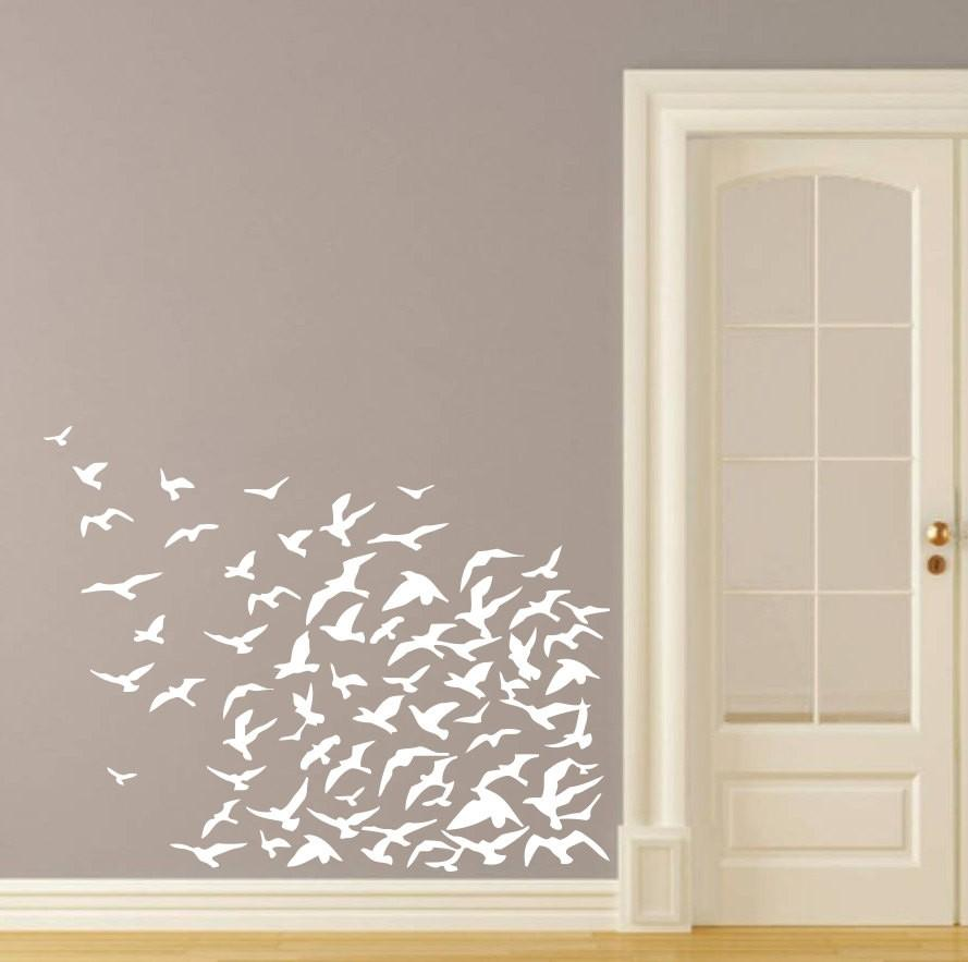 Beautiful Flock Of Flying Birds Seagulls Tropical Ocean Beach Wall Stickers for Living room Home decoration