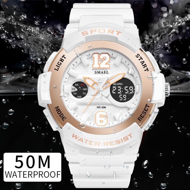 Relojes deportivos para mujeres SMAEL Relojes para mujer Casual LED Reloj blanco digital Mujer relojes elegantes mujer Relojes a prueba de agua Y18102310
