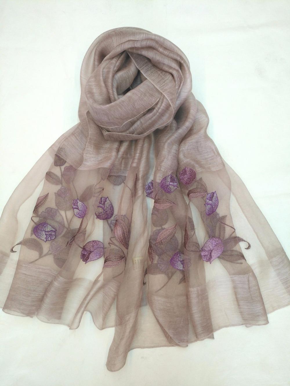 1e12566fa 2018 new style women summer silk flower paint long scarf high quality