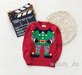 HAPPY BABY Verkauf der neuen Kinder Neujahr rot Weihnachten Pullover Kinder runden Kragen Großhandel Basis Mantel