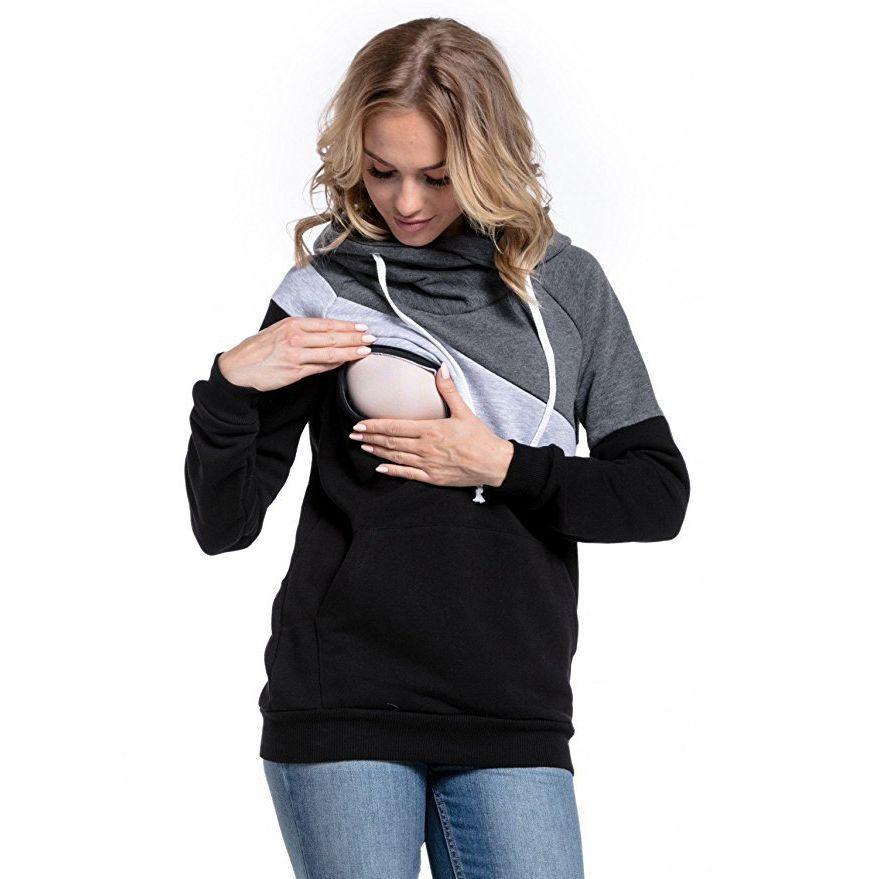زائد حجم الحمل التمريض طويلة الأكمام الأمومة الملابس مقنعين الرضاعة الطبيعية القمم المرقعة تي شيرت للنساء الحوامل