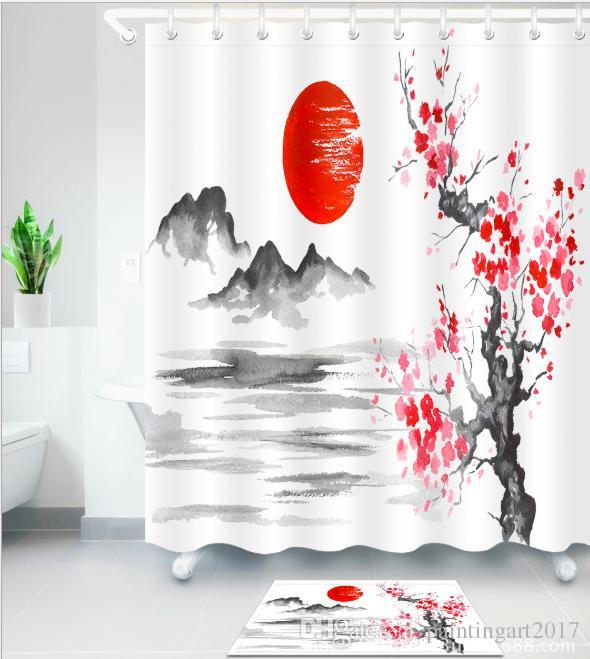 3D japanese-style flower Print Pattern Irish Decorations Waterproof Bathroom Decor Fabric Shower Curtains Floor mats sets