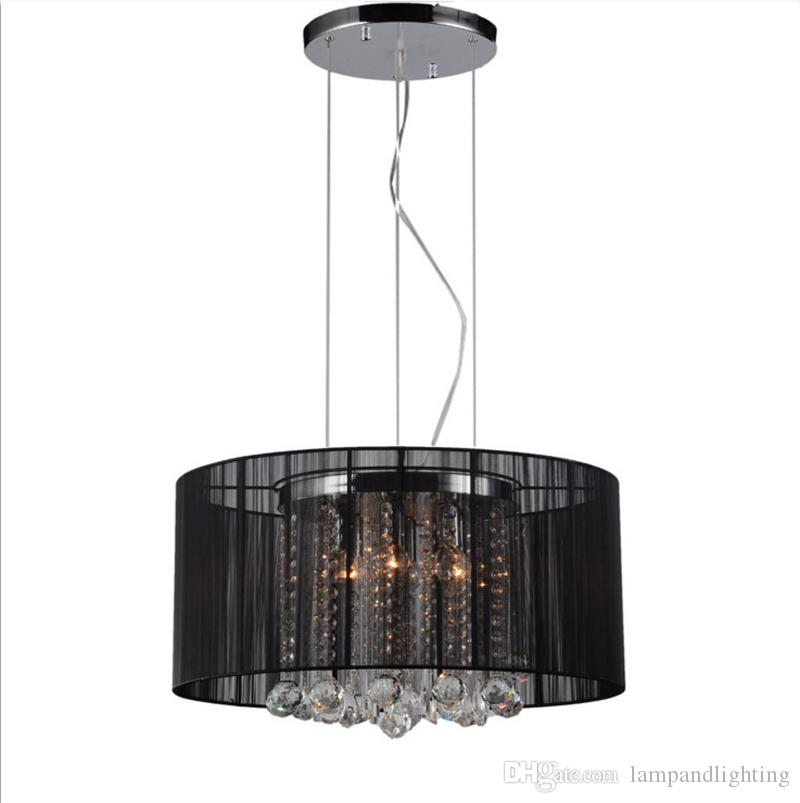 현대 로맨틱 화이트 실버 블랙 패브릭 그늘 펜던트 조명 K9 크리스탈 샹들리에 lamparas colgantes lumininaas 침실 식사