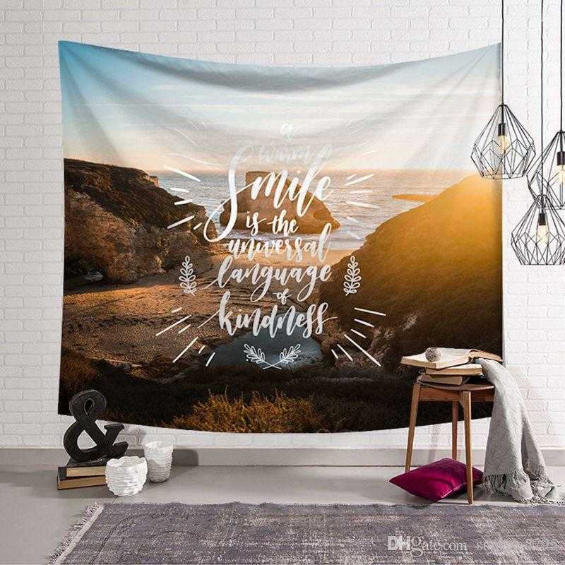 spiritual quotes and nature scenic scenery wall tapestry coastal decor hanging cloth room dorm farmhouse bedhead mural tapiz