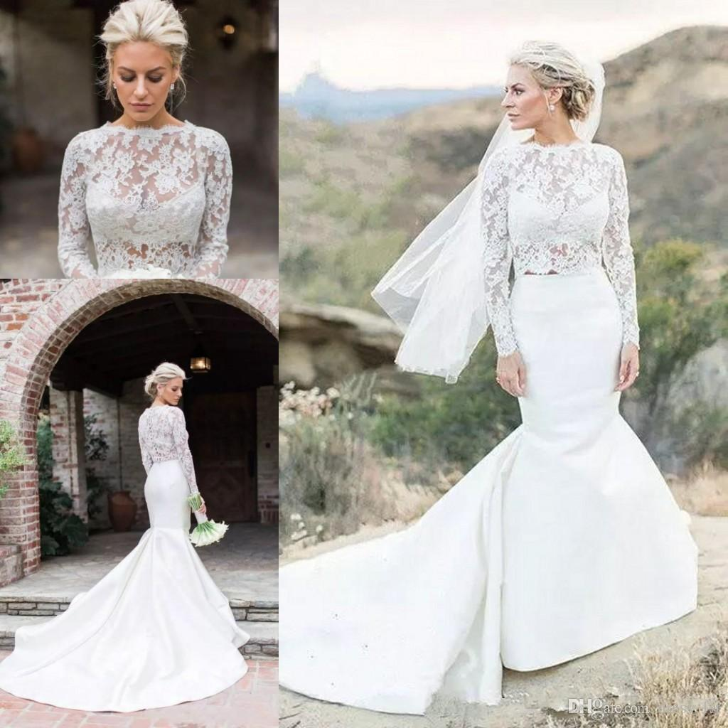Fall 2018 New Pattern Long Sleeve Mermaid Wedding Dresses Jewel Neck Sheer Lace Bodice Trumpet Court Train Sexy Two Pieces Bridal Gowns