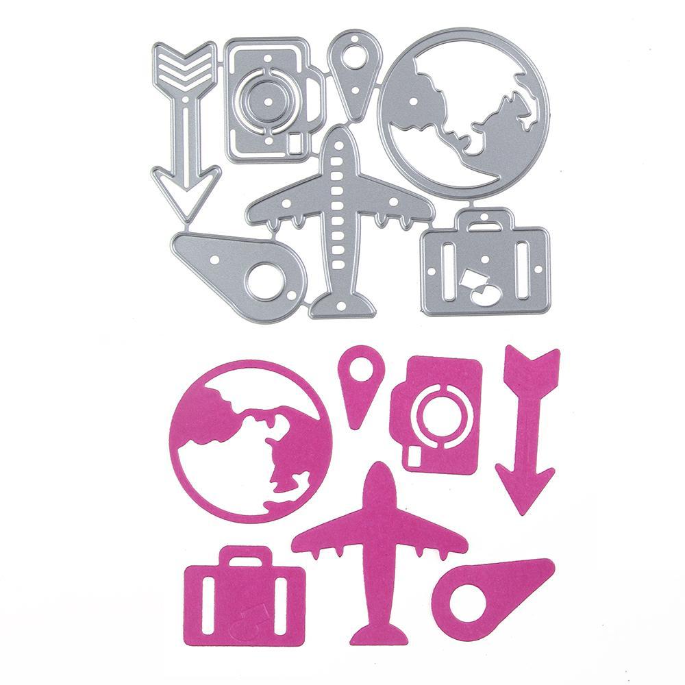 엠보싱 스틸 비행기 카메라 세트 커팅 다이 스텐실 DIY Scrapbooking 카드 앨범 사진 그림 템플릿 금속 공예
