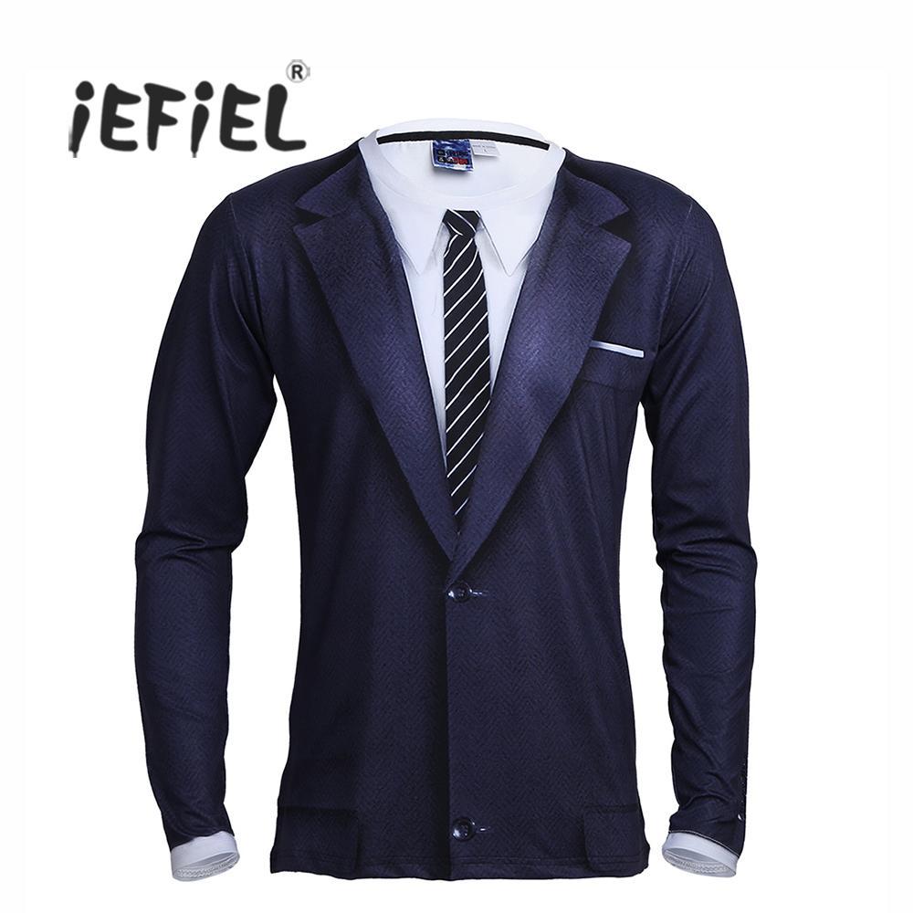 длинные iEFiEL мужские экипажа шеи 3D печатных галстук смокинг эластичной футболки топы Мужская партия костюм одежда t рубашка
