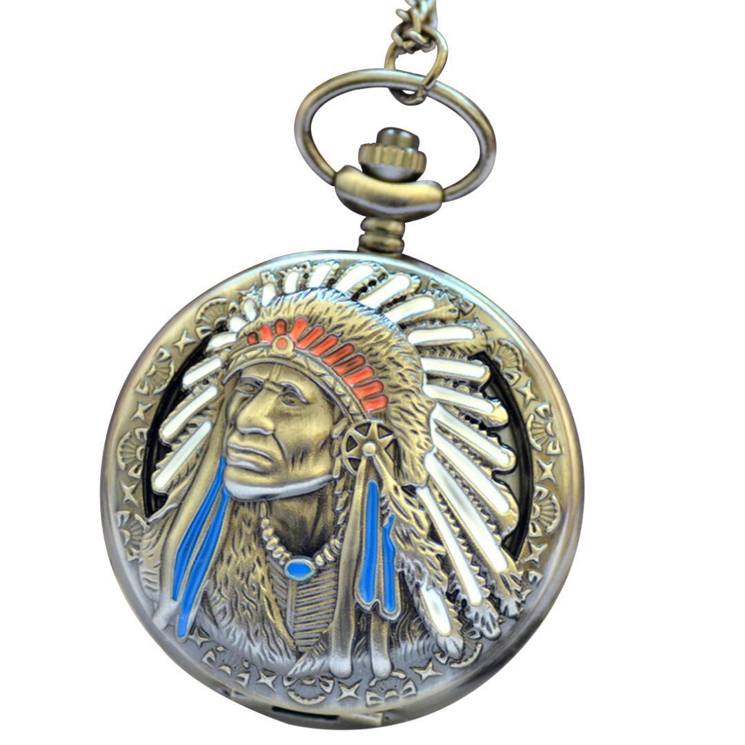 Vintage Exquisite lndian Muster-Taschen-Uhr-neueste Trend Quarz-Uhr-Männer und Frauen beiläufige Art und Weise wilde gravierte Taschen